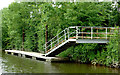SO8263 : Floating landing stage west of Holt Lock, Worcestershire by Roger  Kidd