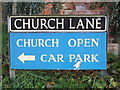 TM3292 : Church Lane sign by Adrian Cable