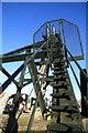 SK4964 : Pleasley Colliery - north headgear by Chris Allen