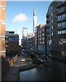 SP0687 : Birmingham and Fazeley Canal past Fleet Street, with BT Tower by Robin Stott