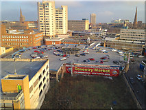SP3378 : Rooftop car park on the circular Coventry Market building by Robin Stott