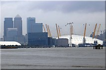 TQ3980 : Canary Wharf and the O2 Arena by Steve Daniels