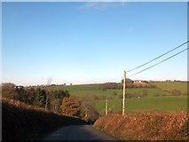 SS6917 : North of Cadbury Barton, a shallow valley with farmland by David Smith