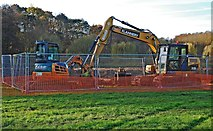 SO8475 : Bulldozers at the Sports Field, Spennells, Kidderminster by P L Chadwick