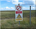TF4851 : Warning sign on the sea bank by Mat Fascione