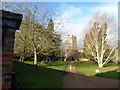 TL1442 : All Saints' church, Southill, midwinter sunshine by Bikeboy