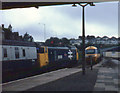 SW8144 : Trains passing at Truro by Stephen Craven