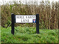 TL2655 : Hall Farm Lane sign by Adrian Cable