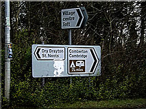 TL3759 : Roadsigns on St.Neots Road by Adrian Cable
