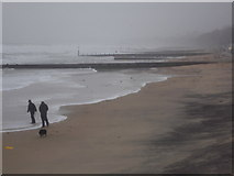SZ1191 : Boscombe: a wet and windy walk on the beach by Chris Downer
