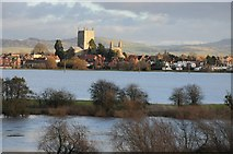 SO8832 : Tewkesbury Abbey and a flooded Severn Ham by Philip Halling