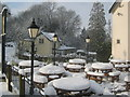 SO7640 : Snow-covered tables outside the Malvern Hills Hotel by Trevor Rickard