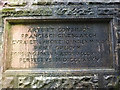 NY5357 : Carved commemorative panel on the Middle Gelt railway viaduct by Karl and Ali