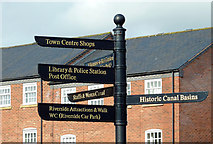SO8171 : New signposts by Stourport Basins, Worcestershire by Roger  Kidd