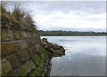 NU2410 : Storm damage to sea wall at Alnmouth by Russel Wills