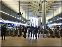 TQ3780 : Ticket barriers, Canary Wharf station (Jubilee Line) by Robin Webster