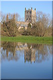 SO8832 : Tewkesbury Abbey reflected in floodwater by Philip Halling