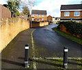 ST2689 : Metal posts across the western end of Great Oaks Park, Rogerstone, Newport by Jaggery