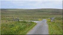 HU5892 : Fetlar road junction by Richard Webb