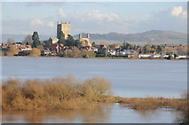 SO8832 : Tewkesbury Abbey and flooded Ham by Philip Halling