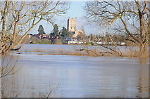 SO8832 : Tewkesbury Abbey across the floodwater by Philip Halling