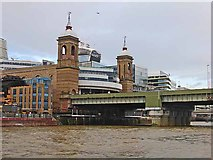 TQ3280 : Cannon Street Station seen from the river by Oliver Dixon