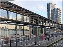 TQ3680 : Canary Wharf pier by Oliver Dixon
