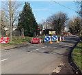 ST8993 : Roadworks near Springfields, Tetbury by Jaggery