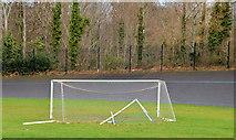 J3773 : Goalposts and cycle track, Orangefield Park, Belfast by Albert Bridge