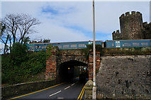 SH7877 : Rail bridge over Llanrwst Road, Conwy by Ian S