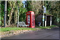 SU7447 : Bench, telephone box and bus stop at Long Sutton by David Martin