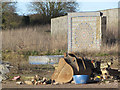SP9213 : Mosaic Wall at back of Gamnel Farm Demolition Site by Chris Reynolds