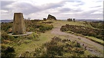 SK3563 : Trig point and 'The Fabrick' or 'Ashover Rock' by Chris Morgan