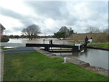 SO8453 : Diglis Top lock - Worcester flooding 2014 by Chris Allen