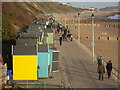 SZ1391 : Southbourne: haphazard beach huts after a storm by Chris Downer