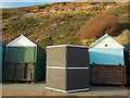 SZ1391 : Southbourne: beach hut 1120 has been toppled by Chris Downer
