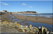 TA0487 : South Bay, Scarborough at low tide by Pauline E