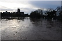 SO8454 : Dawn in a flooded Worcester by Philip Halling