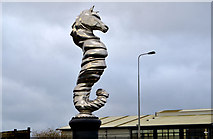 J3577 : Seahorse sculpture near Belfast harbour (2) by Albert Bridge