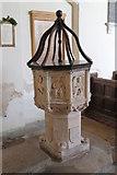 TG0135 : Font, St Mary's church, Gunthorpe by J.Hannan-Briggs