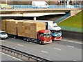 SD8004 : HGVs Passing Below Bury New Road at Whitefield Interchange by David Dixon