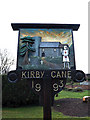 TM3792 : Kirby Cane Village sign by Adrian Cable