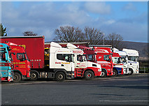 SD5052 : HGVs at Forton Services by William Starkey