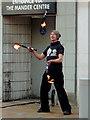SO9198 : Street entertainer in Wolverhampton by Roger  Kidd
