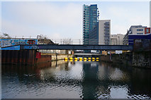 TQ3783 : Bow Back River joins the River Lea by Ian S
