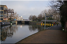 TQ3783 : Water Bus Stop on the River Lea by Ian S