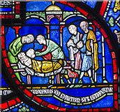TR1557 : Plague in the house of Sir Jordan Fitz-Eisulf Part 3, Stained glass window by Julian P Guffogg