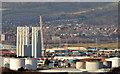 J3677 : Wind turbine masts, Belfast harbour by Albert Bridge