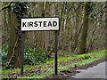 TM2898 : Kirstead Village Name sign by Adrian Cable