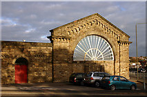 SK0573 : London and North Western Railway Station train shed wall Palace Road Buxton by Jo Turner